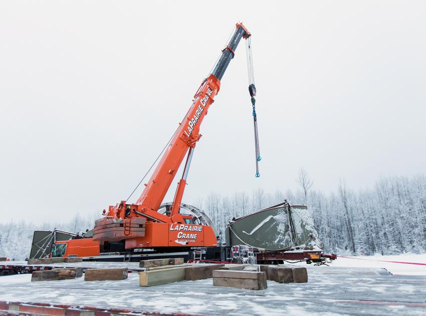 The turbines and generators contractor mobilizing material and equipment to their work area (January 2018)
