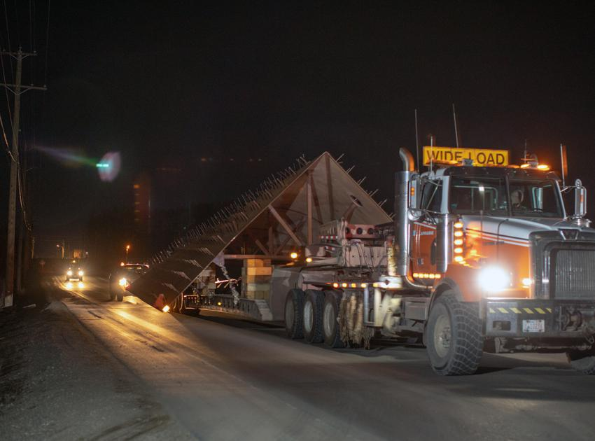 The first of 24 penstock transition segments are hauled from a workshop in Fort St. John to the dam site where they will be assembled. (Spring 2019)