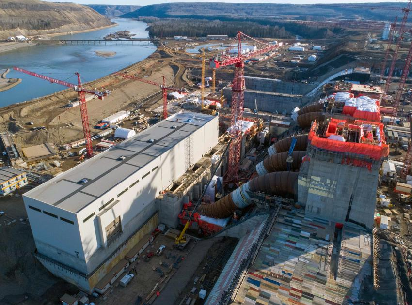 An aerial view of the Site C powerhouse, penstocks and intakes. (October 2020)