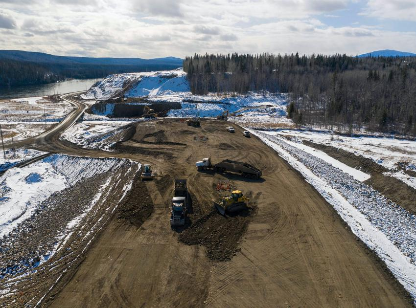 Construction is underway on the causeway at the east abutment of the Highway 29 realignment at Lynx Creek. (March 2021)