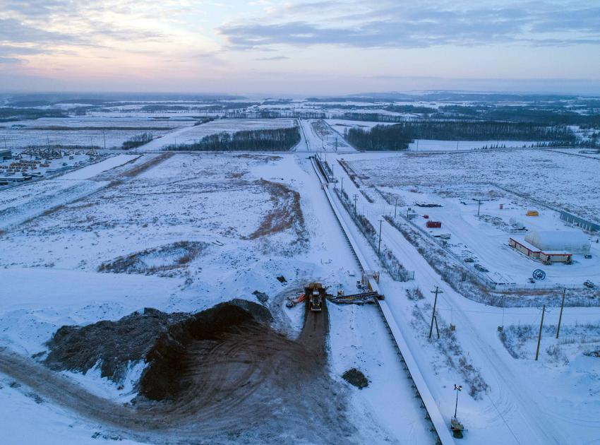 Aggregate material is excavated and moved to Site C from the 85th Avenue Industrial Lands, next to the City of Fort St. John, via a five-kilometre-long conveyor. (November 2020)