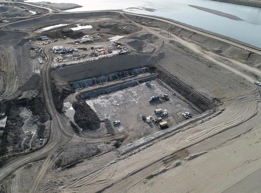 An aerial look at the dam core trench on the south bank. (September 2019)