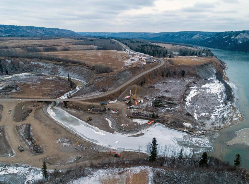 An aerial view of the Highway 29 Farrell Creek alignment and work area where construction is continuing on the new highway and bridge. (December 2020)
