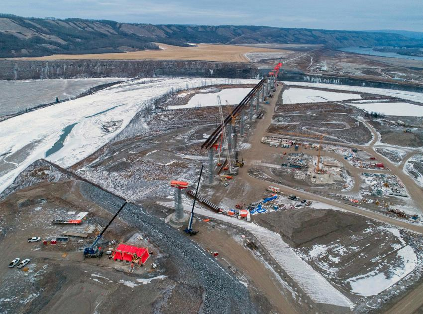 Halfway River bridge facing east as construction of a 1,042-metre-long bridge continues. (December 2020)