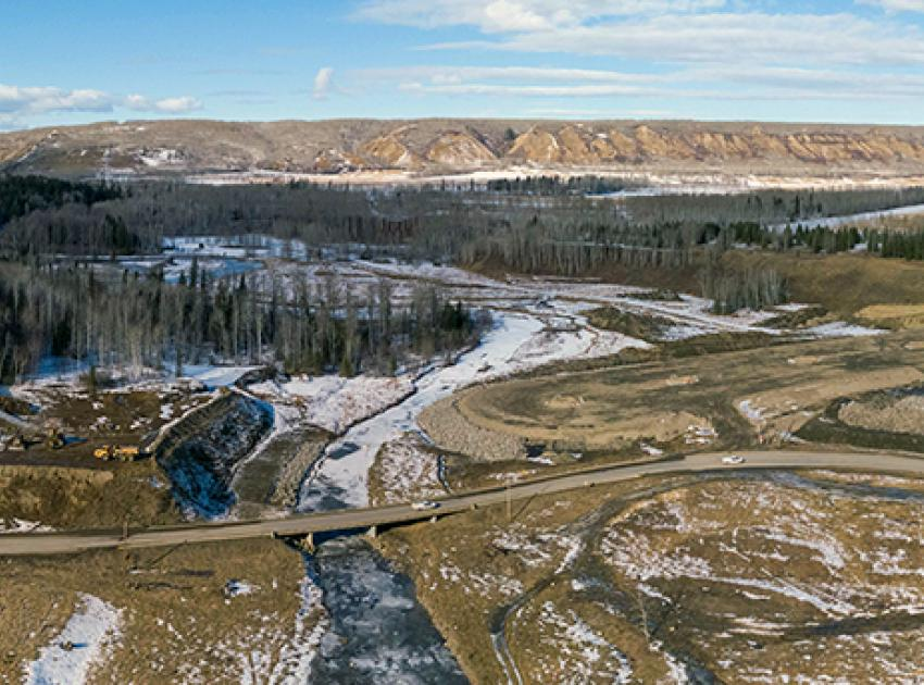 A panoramic view of the Lynx Creek segment of the Highway 29 realignment where construction is underway. (February 2021)