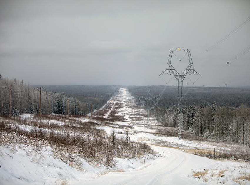Towers with stringing complete, as part of the new 75 km transmission line. (December 2019)