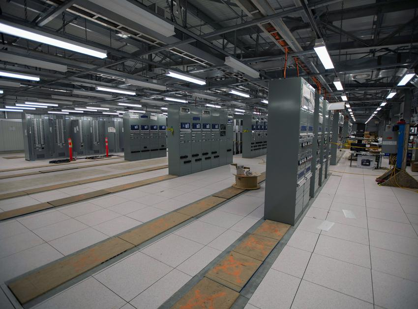 The protection and control cabinets at the Site C substation provide remote monitoring for equipment status and control of the substation. (June 2020)