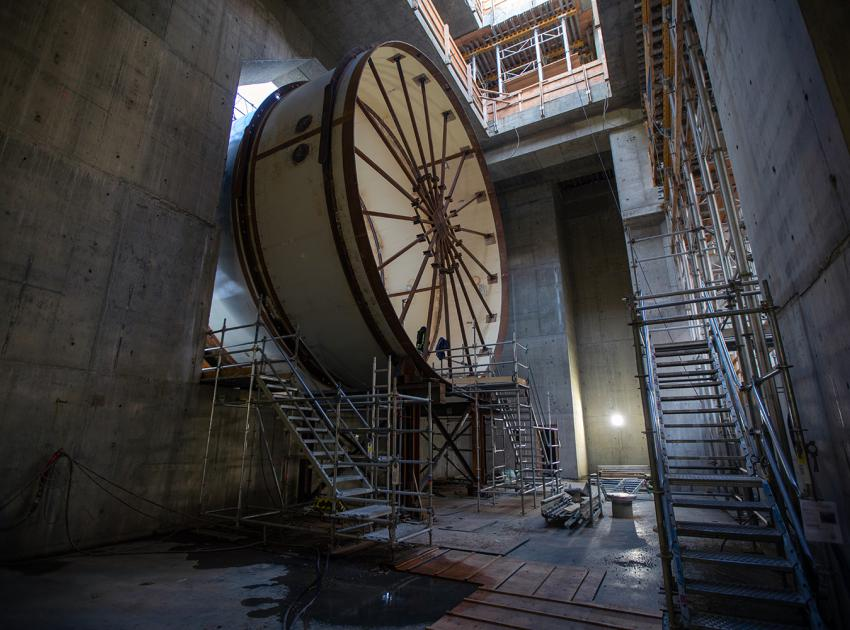 Inside the coupling chamber, where a penstock transitions into the spiral case before entering the turbine. (November 2019)