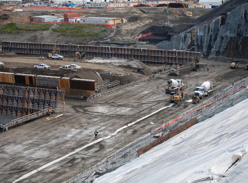 The spillway buttress will provide a stable foundation for Site C's two mechanical spillways and one auxiliary spillway. Spillways allow the passage of extra large volumes of water from the reservoir into the river channel downstream. (August 2019)