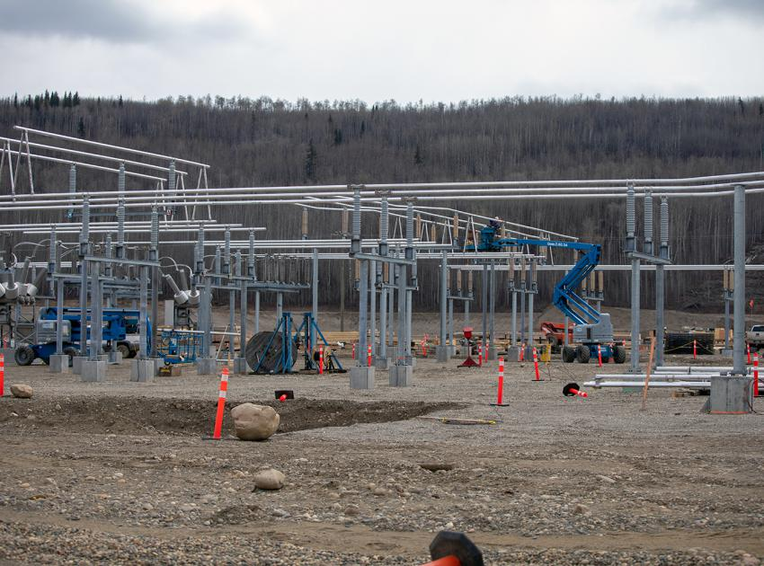 Construction of the Site C substation 138 kV switchyard with the Bus installation in progress. A tubular Bus is made of aluminum pipe and it transfers electricity between electrical equipment. (Spring 2019)