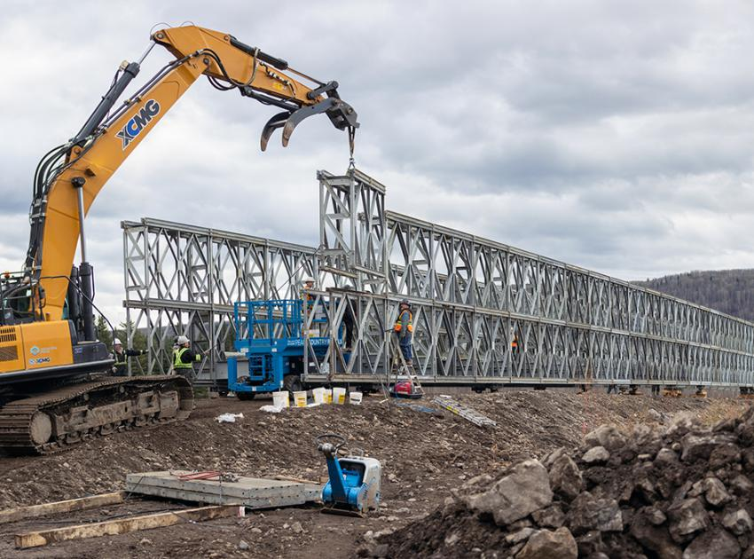Constructing the modules for the super structure bridge which crosses a back channel of the Peace River. (October 2019)