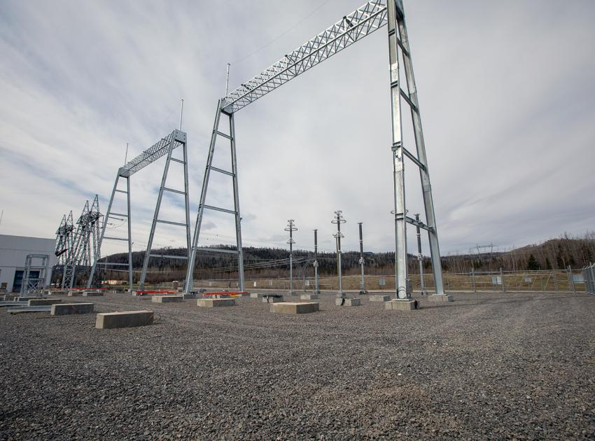 Two new 500 kV terminal gantries have been installed at the Peace Canyon Substation to receive the 500 kV lines from Site C. A gantry is where the transmission lines are connected to. (Spring 2019)