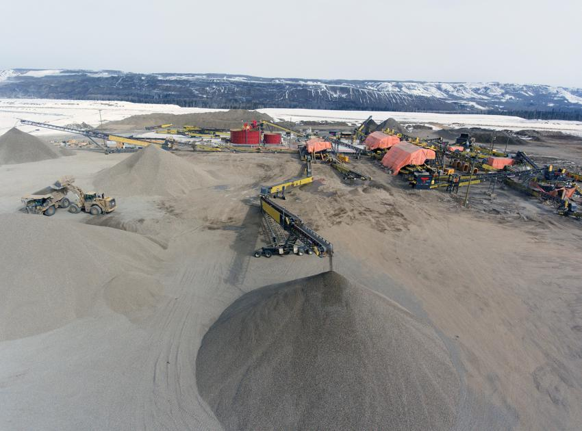 South bank crusher plant 2 and aggregate stock piles (April 2018)