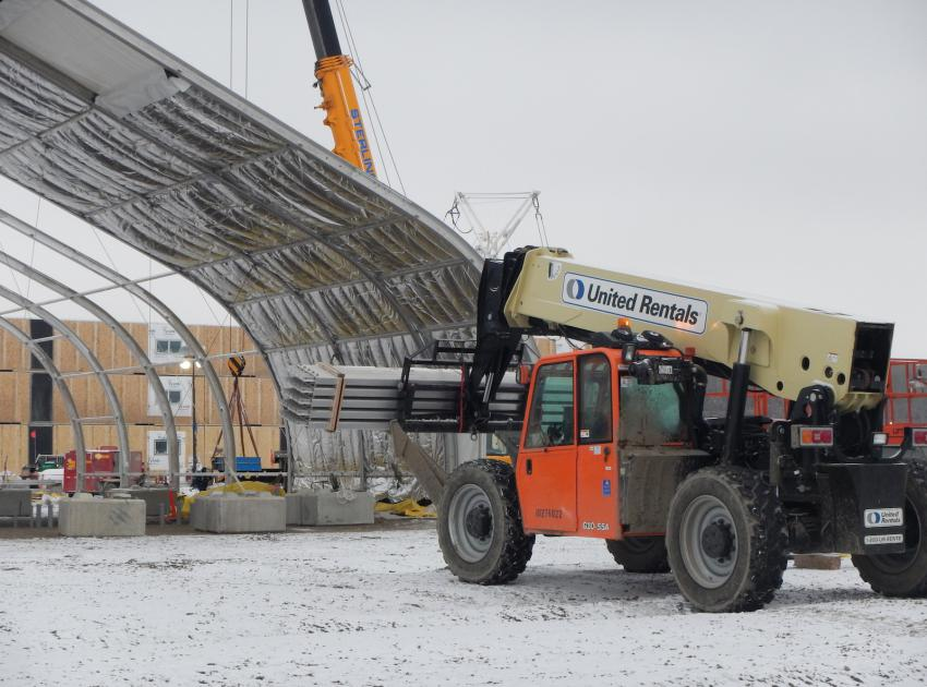 Purlins for the ceiling of the gymnasium. (February 2016)