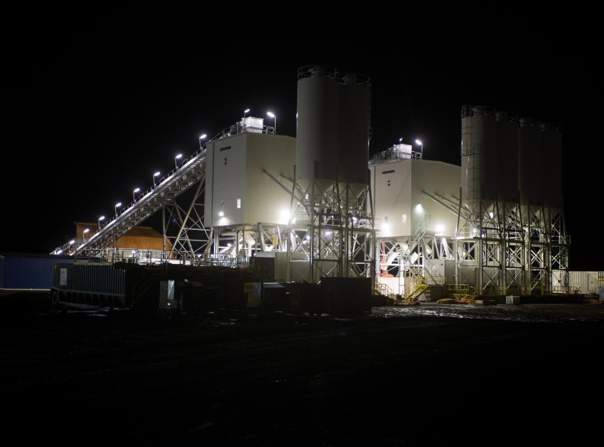 Concrete batch plants at night. (November 2016)