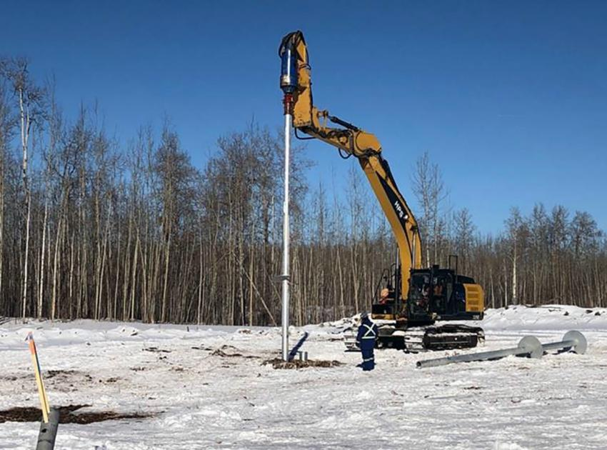 Crews installed the last of 205 foundations on the second 500 kV 75-kilometre transmission line last week. The new line will connect Site C to the Peace Canyon Generating Station.