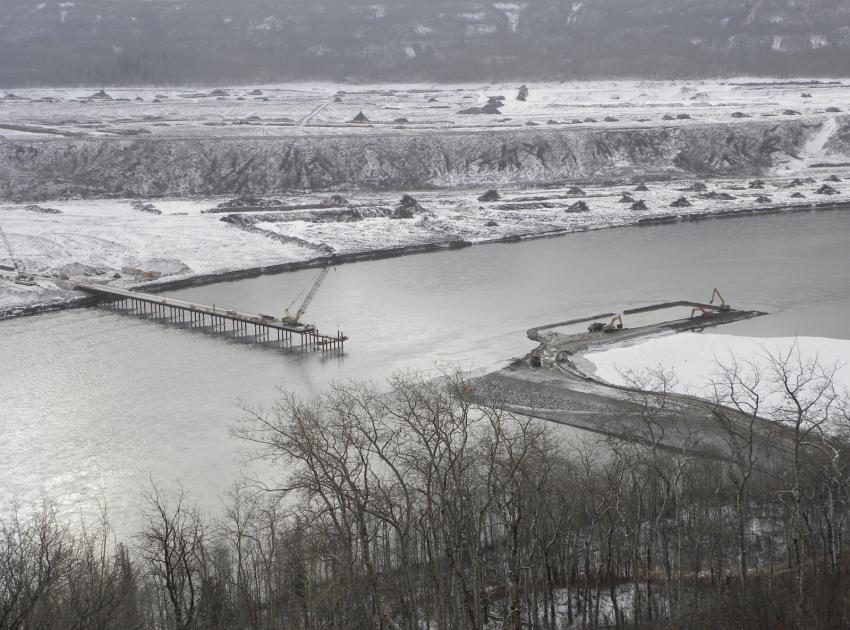Temporary construction access bridge. (February 2016)
