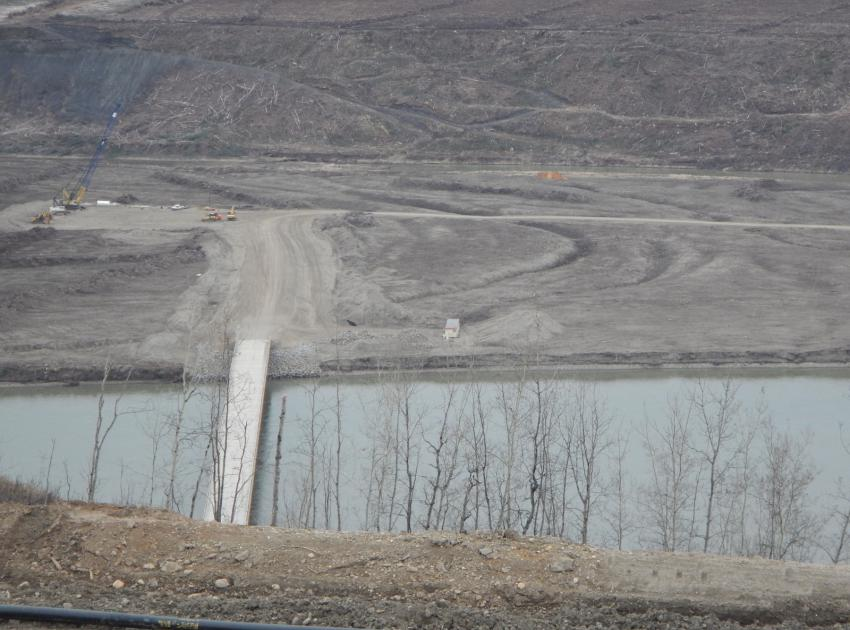 An April 2016 view of the Site C prep work, including a new access bridge, shoreline logging, etc, by the official Site C photographers.